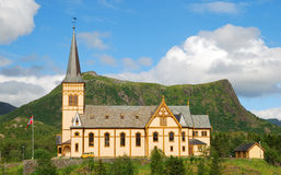 Church in Lofoten islands. Royalty Free Stock Photos