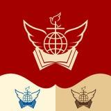 Church logo. Cristian symbols. Cross, open bible, globe, dove and angel wings. vector illustration