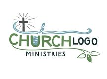 Church logo with cross and leaves. Stock Photography