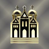 Church logo gold vector image template stock illustration