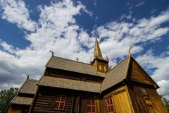Church in Lom in Norway. Stavkirke church and gate in Lom in South Norway Royalty Free Stock Photos