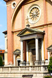 Church  in  the lonate pozzolo  old    brick tower sidewalk ita Stock Images