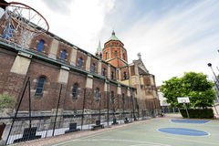 Church of Lourdes (Milan), basketball court Royalty Free Stock Image