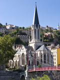 Church in Lyon. Scenic view of church with spire in center of Lyon city, France Stock Photo