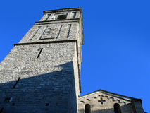 Church made of stone in Bellagio, Italy on Como lake. On blue sky foreground royalty free stock photo