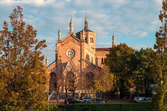 Church of Madonna delle Grazie. Pordenone Italy. Photographed in the evening in October stock photos