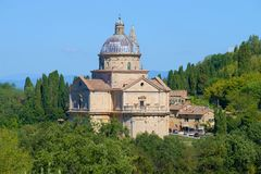 Church of the Madonna di San Biagio in the vicinity of Montepulciano. Italy Royalty Free Stock Photography