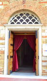 Church magenta curtains input Stock Photography
