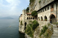 Church on the Maggiore Lake - Italy. Lago Maggiore - The Eremo of Santa Caterina del Sasso on the the lake - Italian typical site Stock Photo