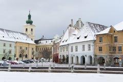 Church in main square in Sibiu Stock Image