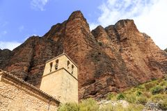 Church in Mallos de Riglos, Spain. In Europe Royalty Free Stock Photography