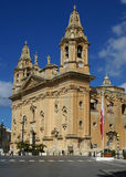 Church in  malta. Classic church in  Malta and flag Royalty Free Stock Photo