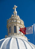 Church with maltese flag malta detail. Malta church dome detail with maltese flag europe Royalty Free Stock Image