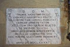 Church marble inscription edict order 1491 Royalty Free Stock Photos