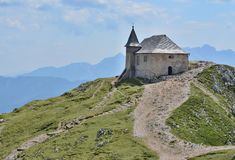 The church of Maria am Stein, the mountain Dobratsch, Austria stock images