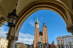 Church of Mariacki. In Crakow, Poland Stock Photos