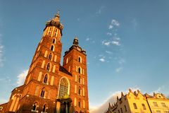 Church of Mariacki in Krakow. Church of Mariacki in the oldtown of Krakow in Poland Stock Photo