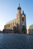 Church Mariacki in Krakow, Poland. Sunrise view of Mariacki Church in Cracow, Poland Stock Image