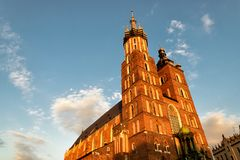 Church of Mariacki in Krakow. Church of Mariacki in the oldtown of Krakow in Poland Stock Photography