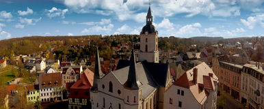 Church Martin Meerane in Germany aerial view Royalty Free Stock Photos