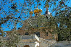 Church of Mary Magdalene, Jerusalem, Israel. The Church of Mary Magdalene is a Russian Orthodox church located on the Mount of Olives, near the Garden of stock photos