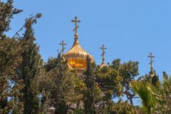 Church of Mary Magdalene, Jerusalem, Israel. The Church of Mary Magdalene is a Russian Orthodox church located on the Mount of Olives, near the Garden of royalty free stock images