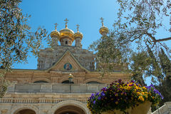 Church of Mary Magdalene, Jerusalem, Israel. The Church of Mary Magdalene is a Russian Orthodox church located on the Mount of Olives, near the Garden of stock image