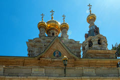 Church of Mary Magdalene, Jerusalem, Israel. The Church of Mary Magdalene is a Russian Orthodox church located on the Mount of Olives, near the Garden of royalty free stock photo