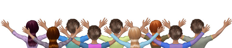 Church Mass Prayers Worshipers Illustration. Back facing believers praising the Lord isolated on white background Royalty Free Stock Photography