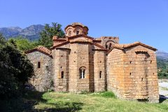 Church in medieval city of Mystras. Laconia, Greece stock photos
