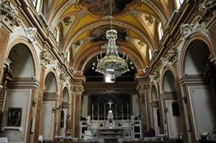 Church in the medieval village of Agnone. Interior view of the Church of St. Anthony in the historic center of the Agnone village. Molise region, central south stock photography