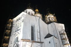 Church, landscape, Ukraine, high shaft royalty free stock images