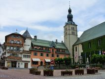 The church in Megeve, France royalty free stock photos