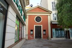 Church in Menton in France stock photography
