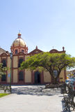 Church in Mexico. Looking across a plaza towards a Cathedral Church in a small town, Mexico Stock Image