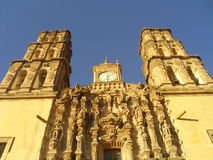 Church in Mexico Dolores. Face of baroque catholic church in mexican city of Dolores Hidalgo Stock Photo