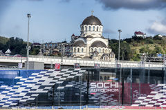 The Church Of The Miraculous Image Of Christ The Savior. Sochi, Russia -9 November 2014 : Formula One, Russian Grand Prix,  Sochi autodrom , 16 stage.The Royalty Free Stock Photo