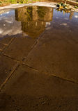 Church Mirror (4 Season Kars). Winter,  church ,sunset  tree blue sky mirror Royalty Free Stock Image