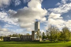 Church in a modernist village royalty free stock images