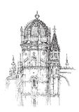 Church. Monastery of Jeronimos, Portugal, hand drawing with church Stock Images