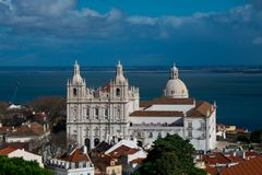 Church or Monastery of Sao Vicente de Fora, Pantheom dome and Tagus river Rio Tajo. In the background stock image