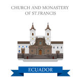 Church and Monastery St Francis Ecuador vector flat attraction Royalty Free Stock Photography