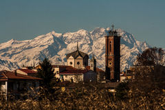 The church and the Monte Rosa Stock Photo