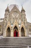 Church in Montreal on a Snowing Day. Christ Church Anglican Cathedral, Montreal, Canada Royalty Free Stock Photos