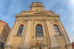 Church with Moon, Oradea, Romania Stock Photography