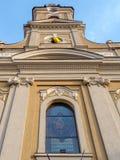 Church with Moon, Oradea, Romania Stock Photos