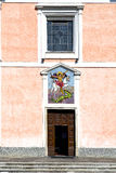 Church  in  the mornago  old   closed brick tower sidewalk  lom Royalty Free Stock Photos