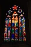 Church mosaic. Photo of beautiful window mosaic in church, Prague, Czech Republic Royalty Free Stock Image