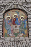 Church mosaic details. Icon on church building Royalty Free Stock Photography