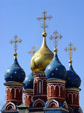 Church in Moscow. Domes of a 15th century church in downtown Moscow royalty free stock image